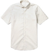 Incotex Slim-Fit Embroidered Dot-Stripe Cotton Shirt