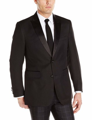 Louis Raphael Men's Tailored Two Button Side Vent Slim Fit Peak Lapel Tuxedo