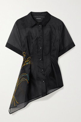 ANDERSSON BELL Asymmetric Embroidered Silk-organza Shirt - Black