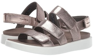 Ecco Flowt 3 Strap Sandal (Warm Grey Metallic Cow Leather) Women's Sandals