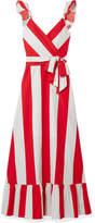 Alice + Olivia Fernanda Ruffled Striped Cotton-poplin Maxi Dress