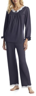 Eileen West Charcoal Sweater Knit Pajama Set