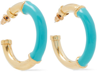 Kenneth Jay Lane 22-karat Gold-plated Enamel Hoop Earrings