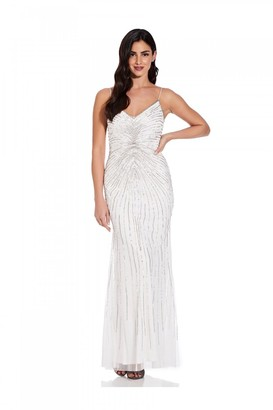 Adrianna Papell Beaded Mermaid Gown In Ivory