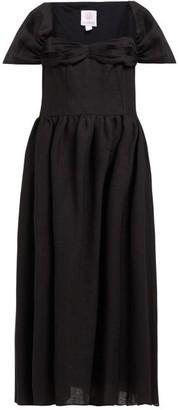 Gül Hürgel Cap-sleeve Gathered Linen Midi Dress - Womens - Black