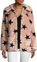 Avec Women's Faux Fur Star Coat