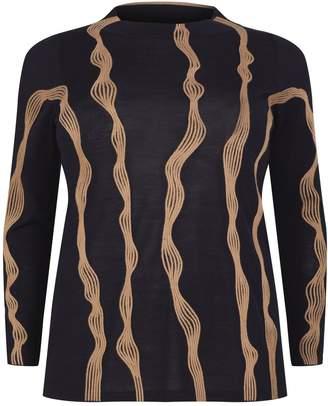 Marina Rinaldi Embroidered Merino Wool Sweater