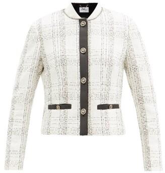 Salvatore Ferragamo Leather-trim Checked Cotton-blend Boucle Jacket - White Black