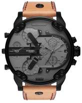 Diesel R) Mr. Daddy 2.0 Chronograph Leather Strap Watch, 57mm x 66mm