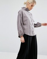 Zacro Blouse With Ruffle Collar And Statement Sleeve