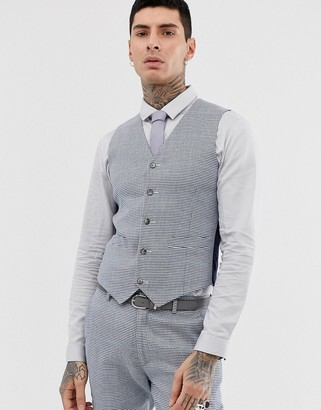 Asos Design DESIGN wedding super skinny suit vest in gray check linen