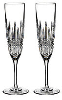 Waterford Lismore Diamond Crystal Champagne Flute Pair