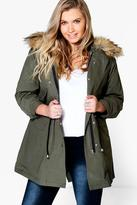 Boohoo Plus Liz 2 In 1 Zip MA1 Parka With Faux Fur Hood