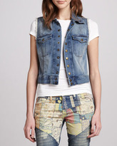 Sleeveless Snap-Front Denim Jacket