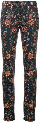 Christian Dior Pre Owned floral printed denim trousers