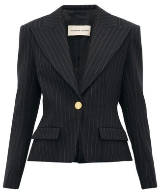 Alexandre Vauthier Pinstripe Single Breasted Wool Blend Blazer - Womens - Black Multi