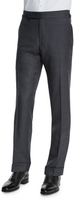Tom Ford O'Connor Base Flat-Front Sharkskin Trousers, Light Gray