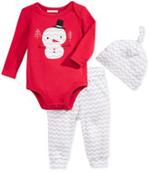 First Impressions Baby 3-Pc. Snowman Hat, Bodysuit & Pants Set, Only at Macy's