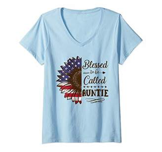 Womens Blessed To Be Called Auntie Sunflower Flag American V-Neck T-Shirt