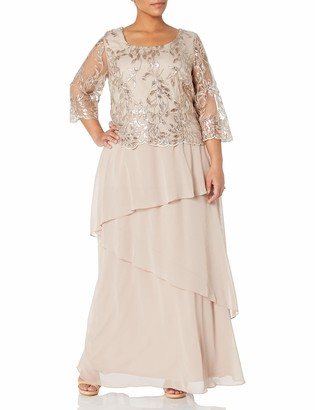 Le Bos Women's Plus Size Embroidered MESH Asymmetrical Tiered Long Dress