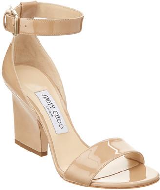Jimmy Choo Edina 85 Patent Ankle-Wrap Sandal