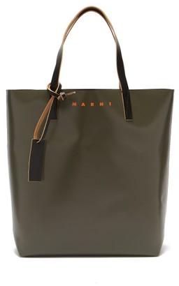 Marni Logo-print Two-tone Leather Tote Bag - Green Multi