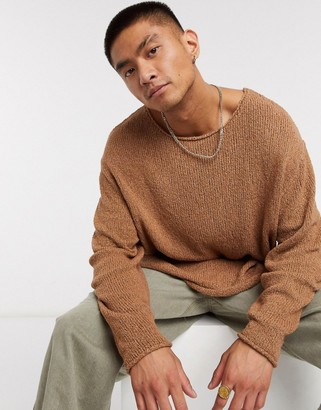 ASOS DESIGN knitted oversized textured yarn sweater in camel