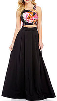 Sequin Hearts Floral Crop Top to Solid Skirt Two-Piece Long Dress