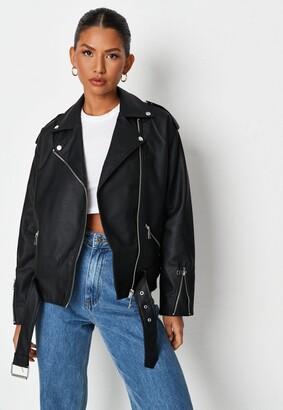 Missguided Black Faux Leather Oversized Biker Jacket