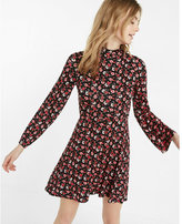 Express floral print bell sleeve mock neck fit and flare dress