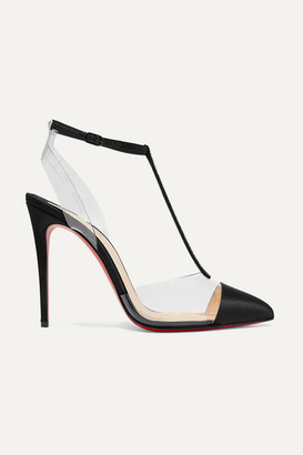 Christian Louboutin Nosy 100 Crystal-embellished Satin And Pvc Pumps - Black