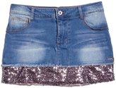 GUESS Sequin-Trimmed Jean Skirt (7-14)