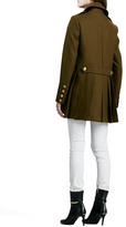 Burberry Double-Breasted Wool Coat with Back Pleats