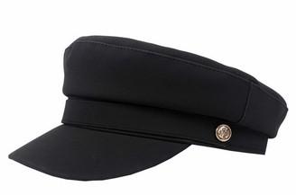 Licus Women PU Yacht Captain Sailor Hat Newsboy Cabbie Baker Boy Peaked Beret Cap Black