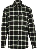River Island MensDark green check flannel shirt