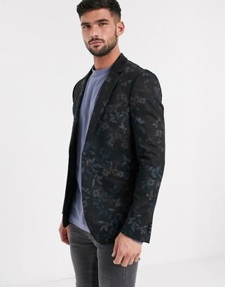 Burton Menswear jersey blazer in floral print-Mat