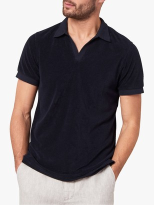 Jaeger Open Collar Terry Towelling Polo Shirt, Navy