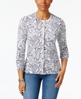 Karen Scott Petite Paisley-Print Cardigan, Created for Macy's