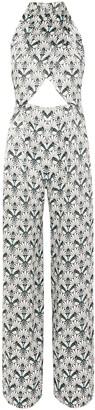 Seren London Soiree Cutout Printed Silk-satin Jumpsuit