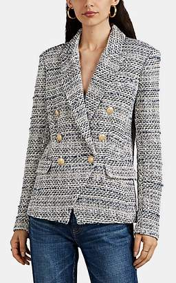 L'Agence Women's Kenzie Cotton-Blend Tweed Double-Breasted Blazer - Blue