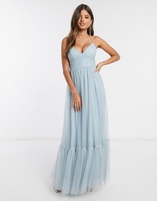 Asos DESIGN cami spot tulle mesh pep hem maxi dress in blue