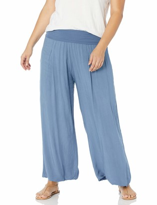 M Made in Italy Plus Size Women's Bohemian Wide Leg High-Waist Pants