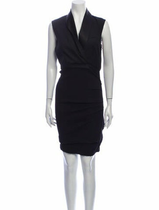 Lanvin Linen Midi Length Dress Black