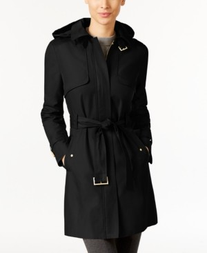 Cole Haan Hooded Belted Trench Coat