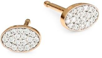 ginette_ny Sequin 18K Rose Gold & Diamond Stud Earrings