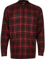 River Island Red Check Flannel Baseball Shirt
