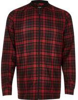 River Island MensRed check flannel baseball shirt