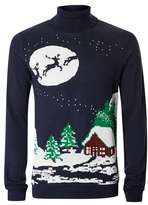 Topman Navy Festive Scene Turtle Neck Ugly Sweater