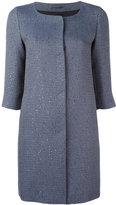 Herno glitter effect collarless coat - women - Acrylic/Polyester/Acetate/Viscose - 40