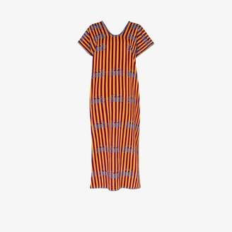 Pippa Holt stripe crab print cotton kaftan dress